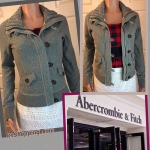 Abercrombie & Fitch Gray Button up jacket